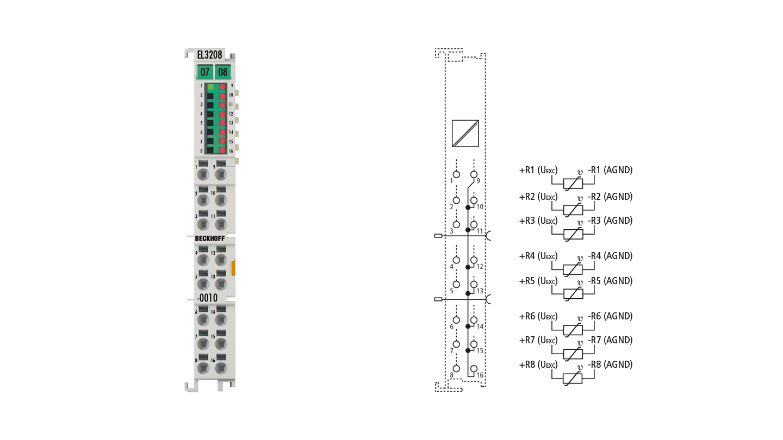 EL3208-0010 | 8-channel input terminal Pt1000, Ni1000 (RTD); NTC sensors, potentiometers