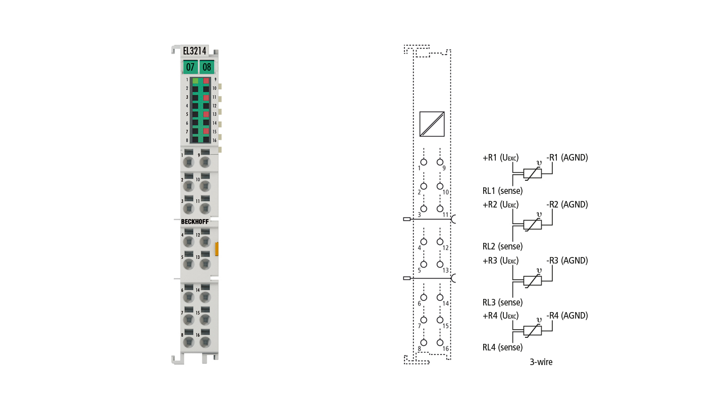 EL3214   4-channel input terminal Pt100 (RTD) for 3-wire connection