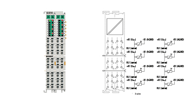 EL3218 | EtherCAT Terminal, 8-channel analog input, temperature, RTD (Pt100), 16bit, 3-wire connection