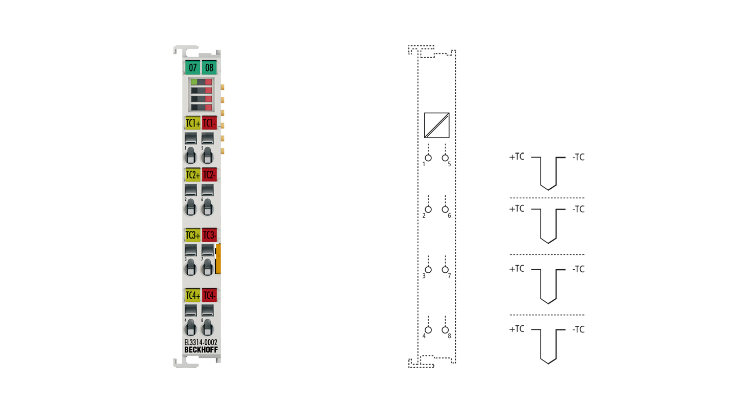 EL3314-0002 | 4-channel input terminal, thermocouple, high-precision, electrically isolated