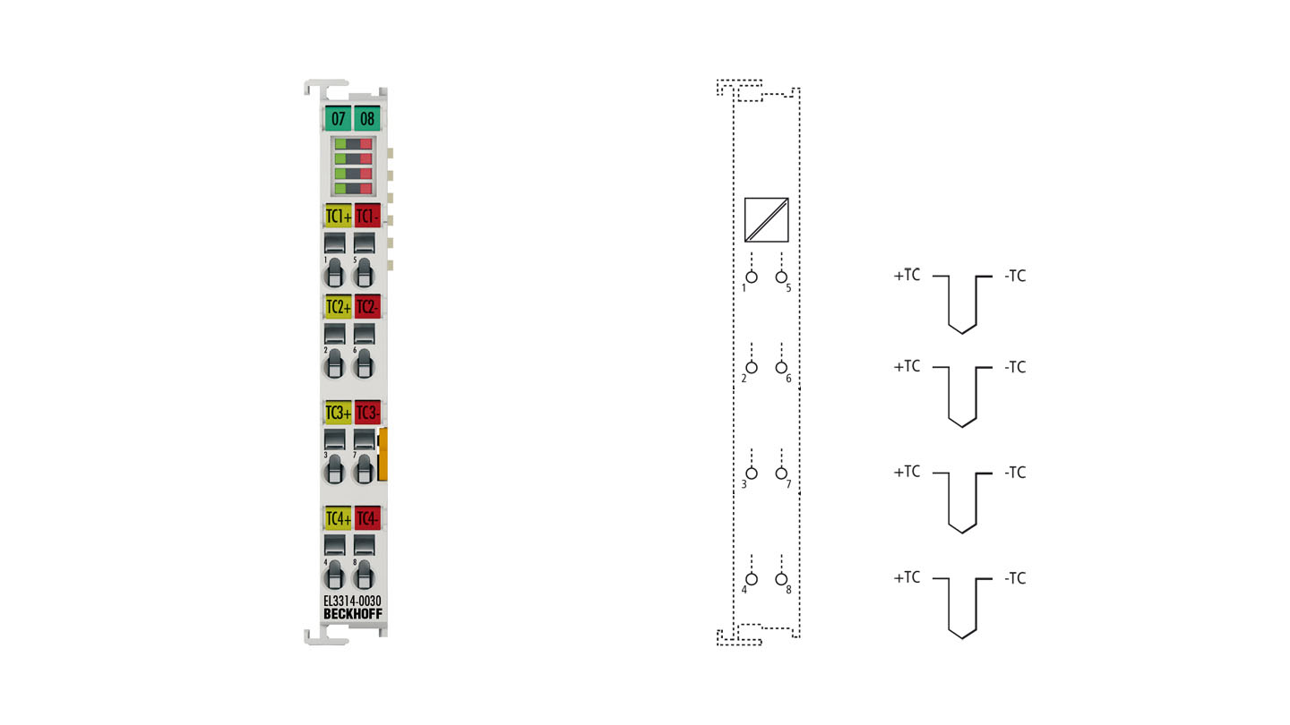 EL3314-0030 | 4-channel thermocouple input terminal, high-precision, with open-circuit recognition, with external calibration certificate