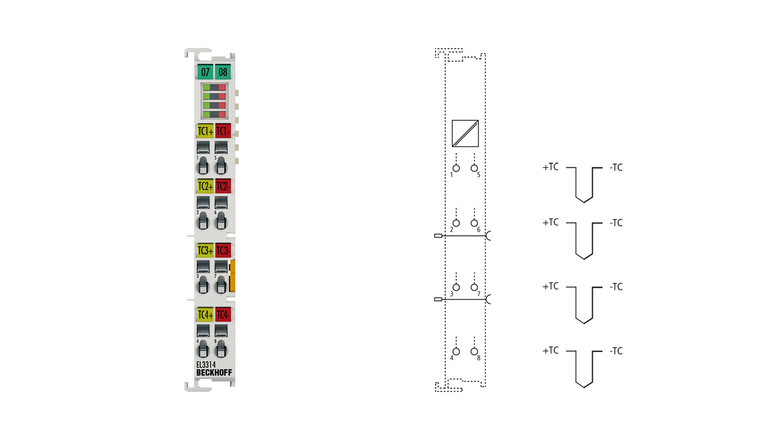 EL3314 | 4-Kanal-Eingangsklemme, Thermoelement mit Drahtbrucherkennung