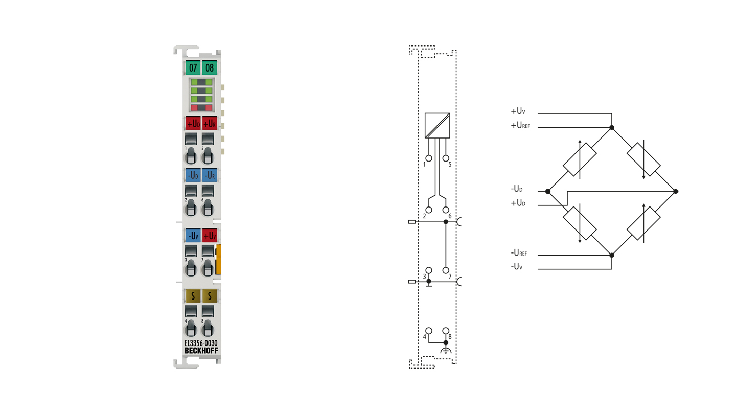 EL3356-0030 | 1-channel precise load cell analysis (resistor bridge), 24bit, with external calibration certificate