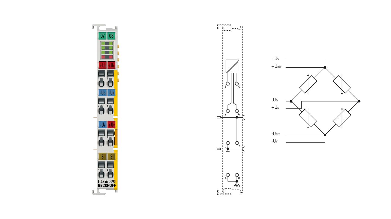 EL3356-0090 | EtherCAT Terminal, 1-channel analog input, measuring bridge, fullbridge, 24bit, high-precision, TwinSAFESC