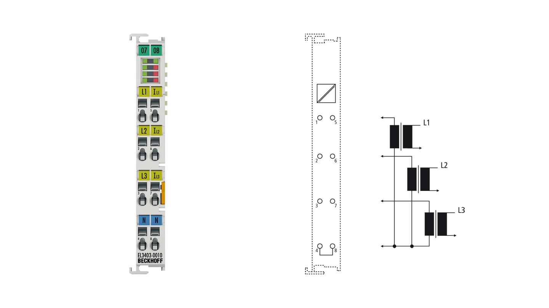 EL3403-0010   EtherCAT Terminal, 3-channel analog input, power measurement, 500VAC, 5A, 16bit