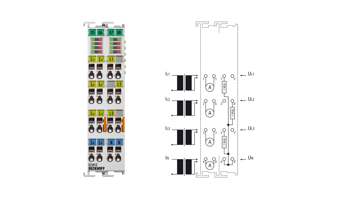 EL3453 | 3-phase power measurement terminal up to 690VAC with extended functionality