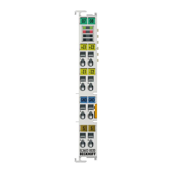 EL3602-0020 | 2-Kanal-Analog-Eingangsklemme ±10V, ±5V, ±2,5V, ±1,25V, Differenzeingang, 24Bit, mit Kalibrierzertifikat