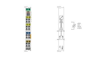 EL3602-0020 | EtherCAT Terminal, 2-channel analog input, voltage, ±10V, ±5V, ±2.5V, ±1.25V, 24bit, high-precision, factory calibrated