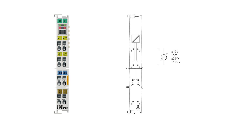 EL3602 | EtherCAT Terminal, 2-channel analog input, voltage, ±10V, ±5V, ±2.5V, ±1.25V, 24bit, high-precision