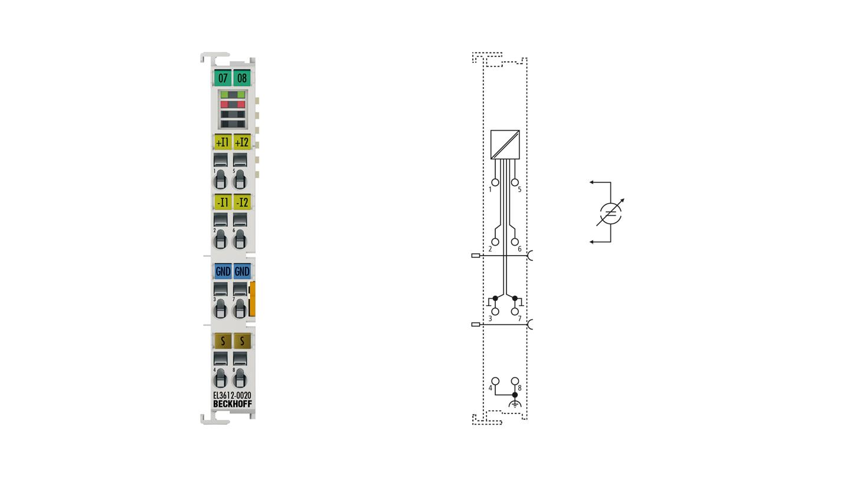 EL3612-0020 | 2-Kanal-Analog-Eingangsklemme 0…20mA, Differenzeingang, 24Bit, mit Kalibrierzertifikat