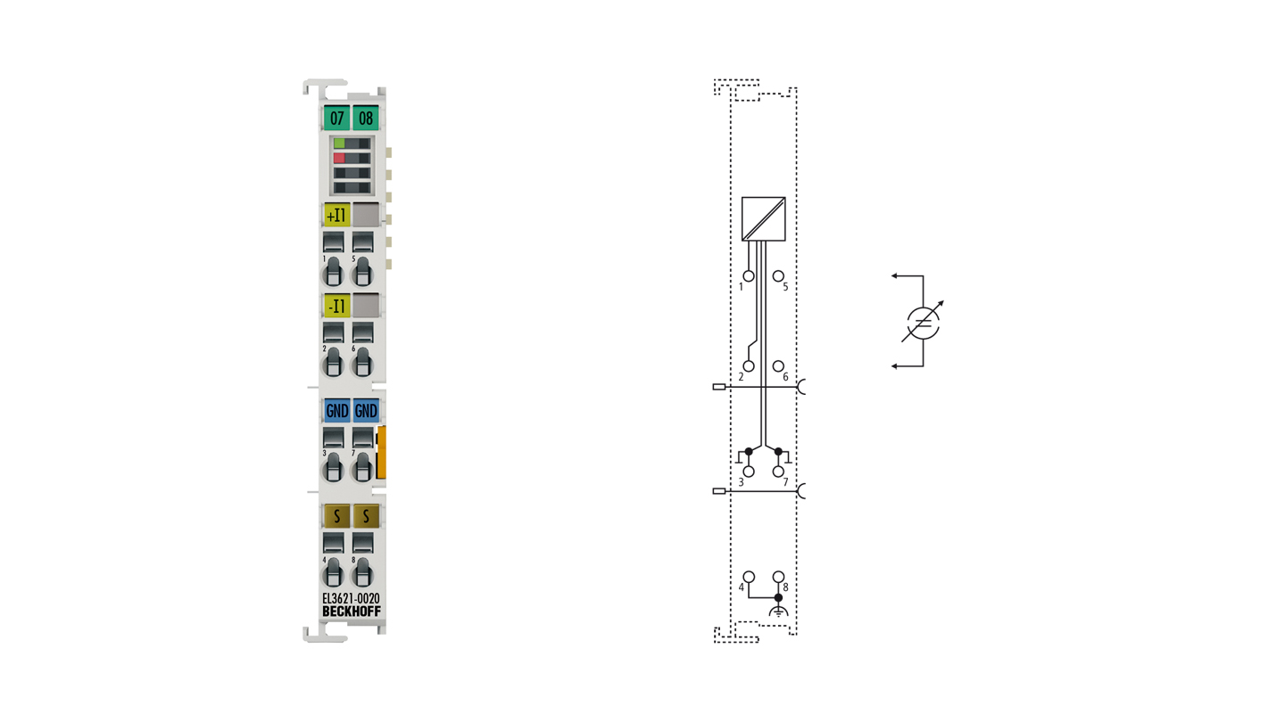 EL3621-0020 | 1-channel analog input terminal 4…20mA, differential input, 24bit, with calibration certificate