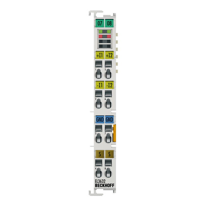 EL3632 | 2-channel analog input terminal for Condition Monitoring (IEPE)