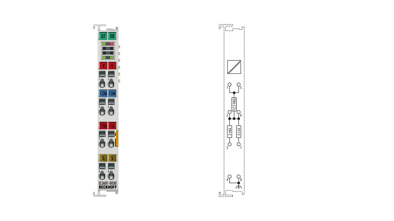 EL3681-0030 | EtherCAT Terminal, 1-channel analog input, multimeter, 300VAC/DC, 10A, 19bit, externally calibrated