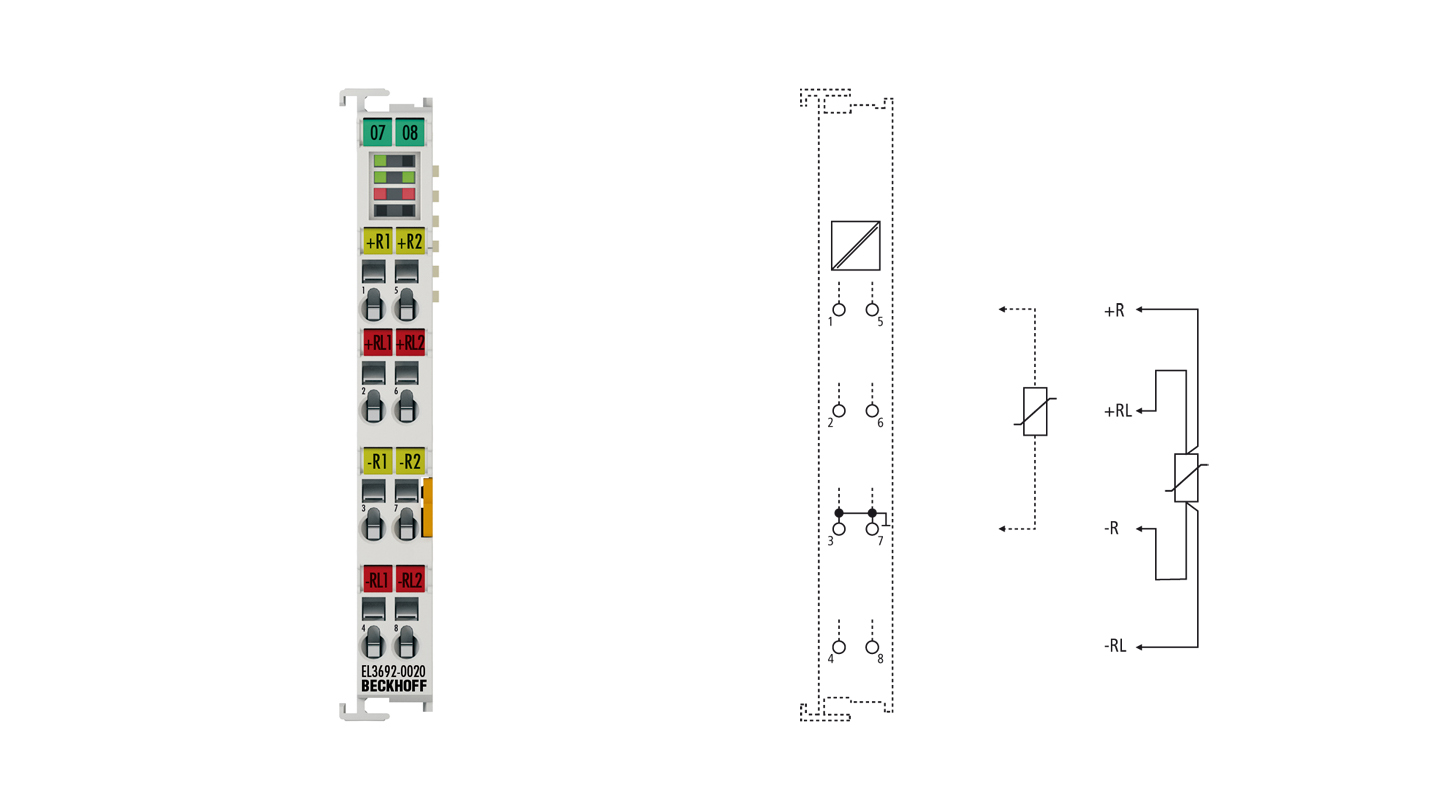 EL3692-0020 | EtherCAT Terminal, 2-channel analog input, resistance, 100mΩ…10MΩ, 24bit, factory calibrated