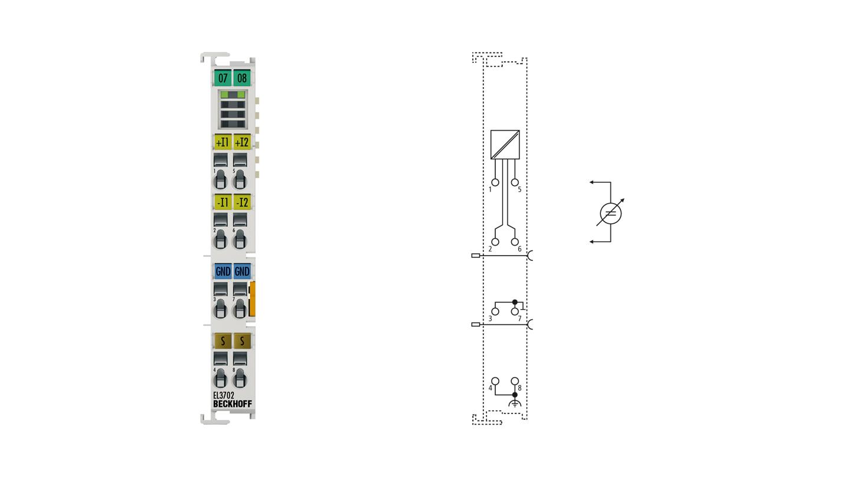 EL3702 | EtherCAT Terminal, 2-channel analog input, voltage, ±10V, 16bit, oversampling