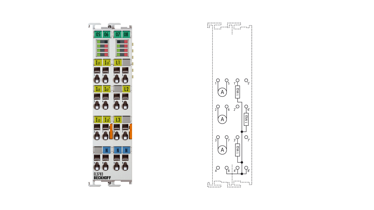EL3783 | Power monitoring oversampling terminal for alternating voltages up to 690VAC