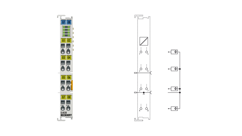 EL4038   EtherCAT Terminal, 8-channel analog output, voltage, ±10V, 12bit