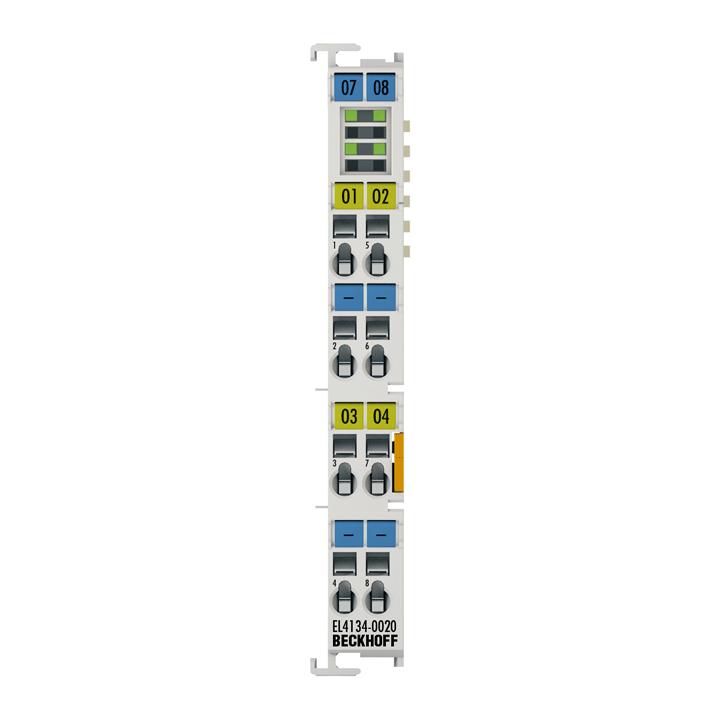 EL4134-0020 | EtherCAT Terminal, 4-channel analog output, voltage, ±10V, 16bit, factory calibrated