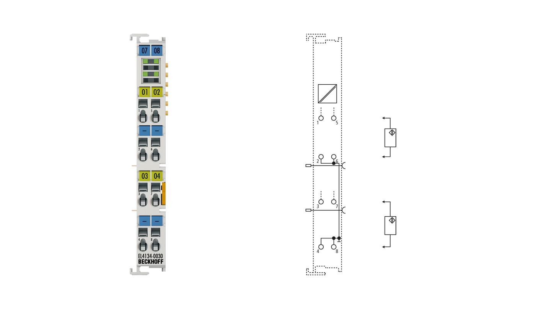 EL4134-0030 | EtherCAT Terminal, 4-channel analog output, voltage, ±10V, 16bit, externally calibrated