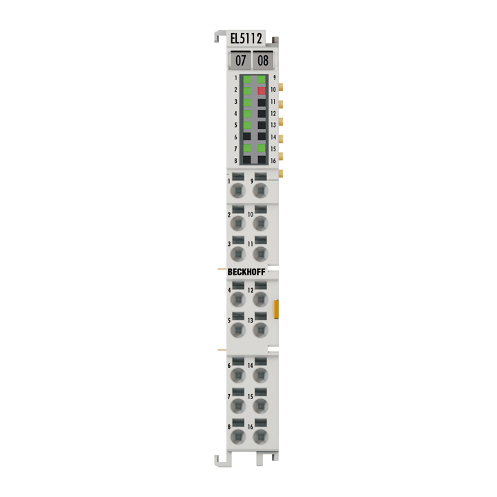 EL5112 | EtherCAT terminal, 2-channel encoder interface, incremental, 5VDC (DIFF RS422, TTL, Open Collector), 5MHz, 2 x AB/1 x ABC