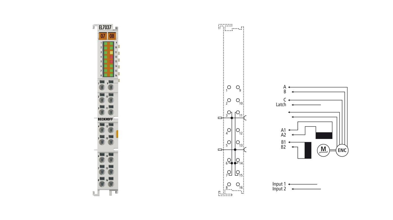 EL7037 | Stepper motor terminal 24VDC, 1.5A, with incremental encoder, vector control