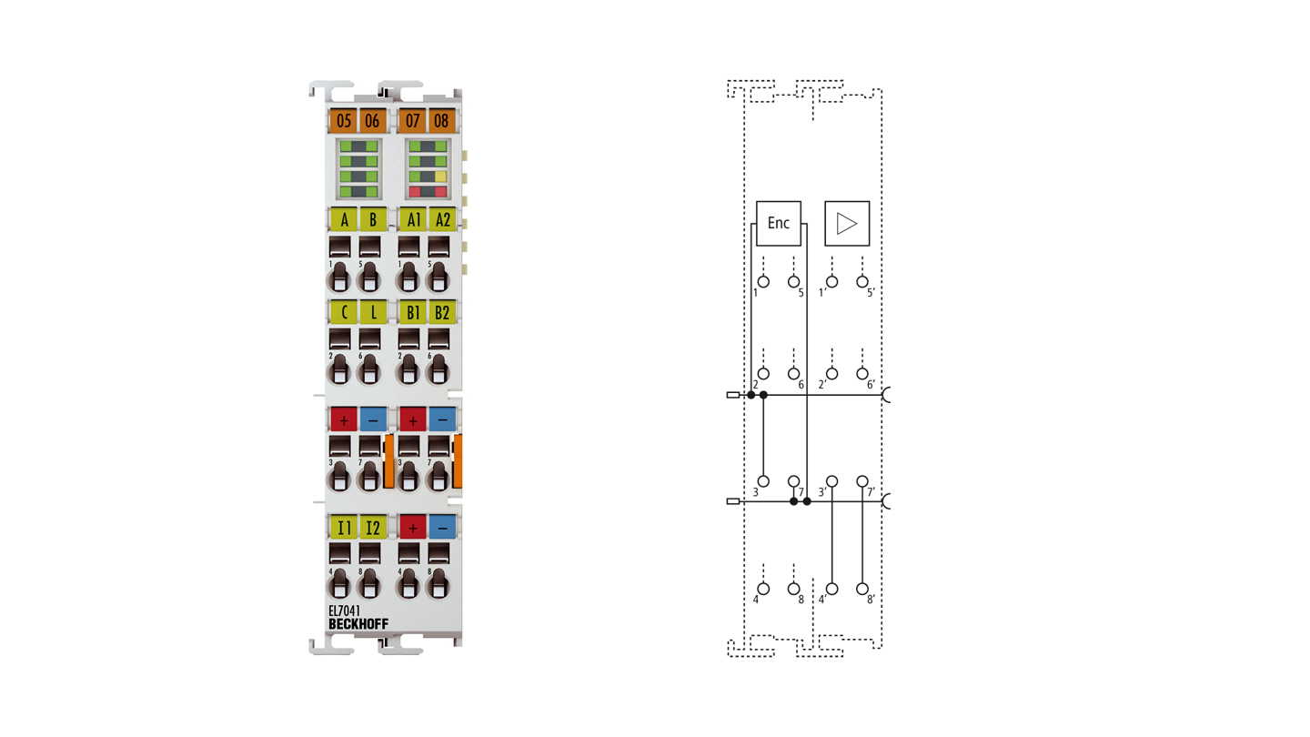 EL7041 | EtherCAT Terminal, 1-channel motion interface, stepper motor, 48VDC, 5A, with incremental encoder