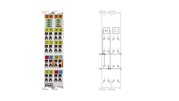 EL7047-9014 | EtherCAT Terminal, 1-channel motion interface, stepper motor, 48VDC, 5A, vector control, with incremental encoder, suitable for STO applications