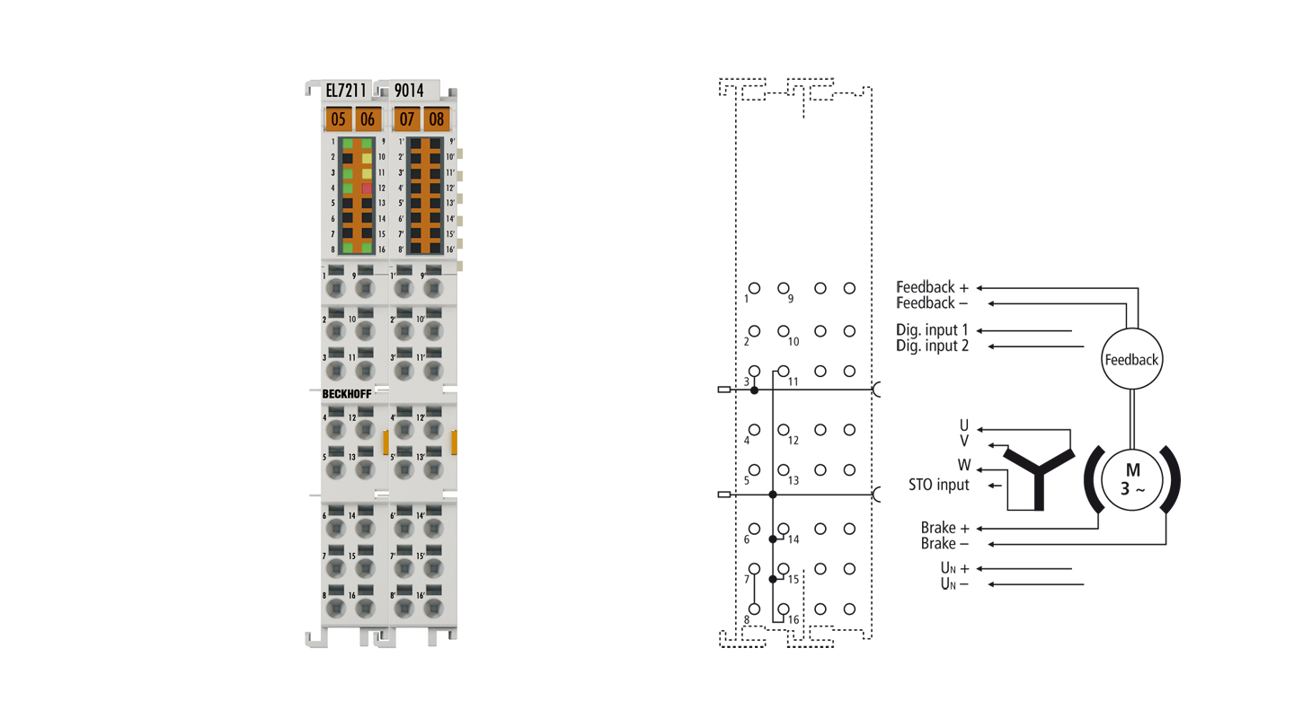 EL7211-9014 | EtherCAT Terminal, 1-channel motion interface, servo motor, 48VDC, 4.5A, OCT, suitable for STO applications