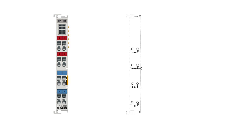 EL9185-0010   Potential distribution terminal, 4 x 24VDC, 4 x 0VDC, potential supply function