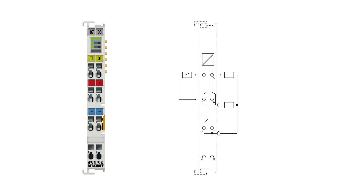 EL9221-9080 | Overcurrent protection terminal, 24VDC, 1-channel, 8A