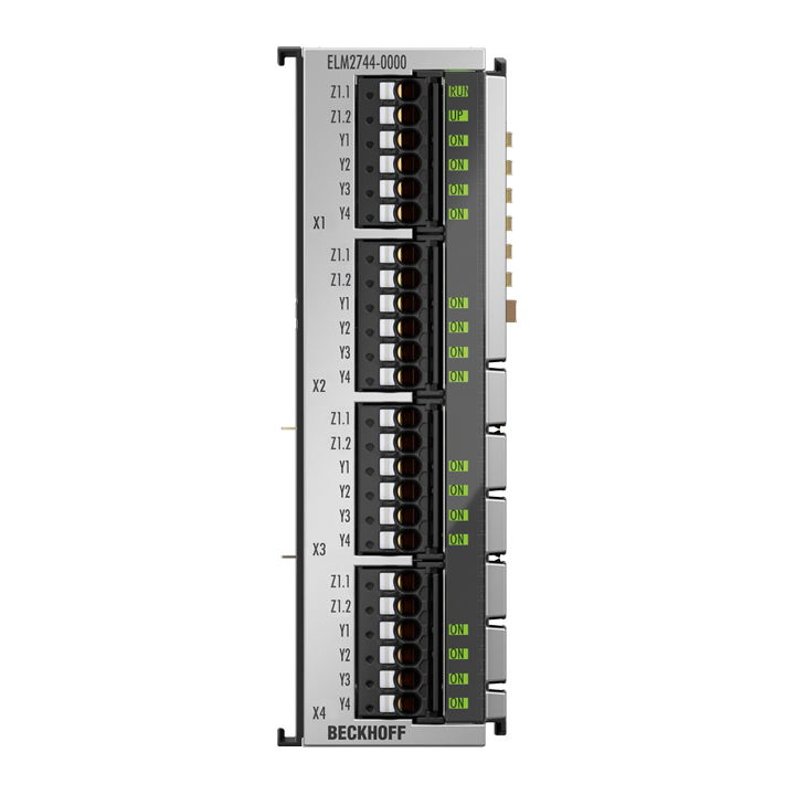 ELM2744-0000 | EtherCAT Terminal, 4-channel solid state relay output, multiplexer, 48VAC/DC, 1A, potential-free, 1x4