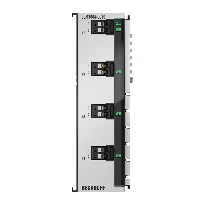 ELM3004-0030 | 4-channel analog input terminal ±30V…±20mV, 24bit, 10ksps, with external calibration certificate