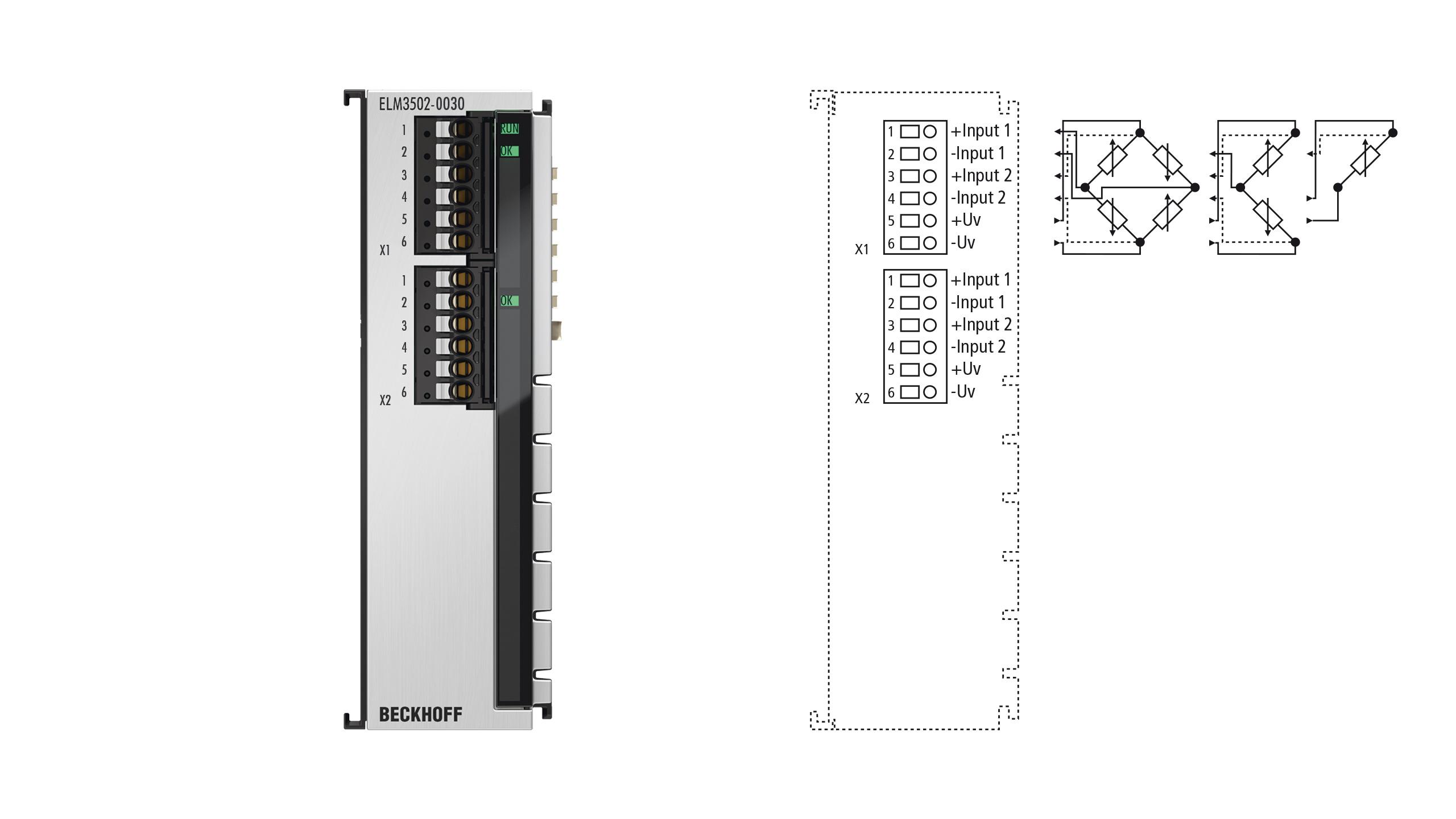 ELM3502-0030 | EtherCAT Terminal, 2-channel analog input, measuring bridge, full/half/quarterbridge, 24bit, 20ksps, externally calibrated