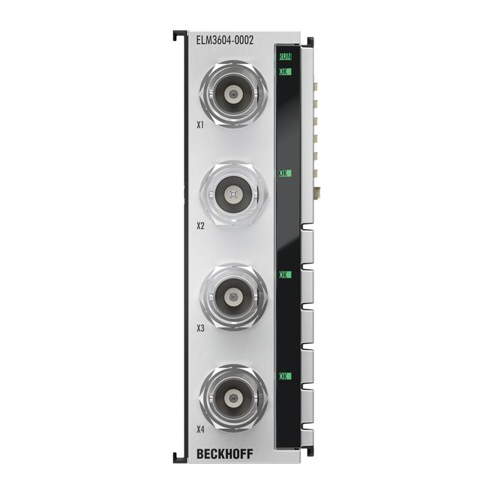 ELM3604-0002   EtherCAT Terminal, 4-channel analog input, IEPE/accelerometer, 24bit, 20ksps, BNC
