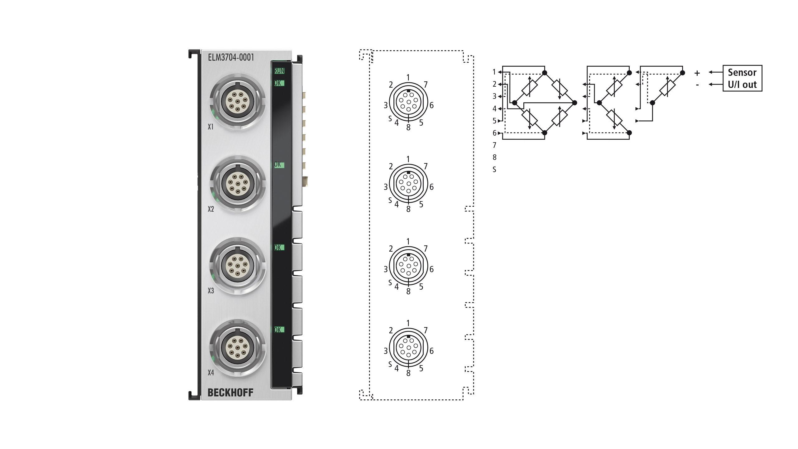 ELM3704-0001 | EtherCAT Terminal, 4-channel analog input, multi-function, 24bit, 10ksps, LEMO