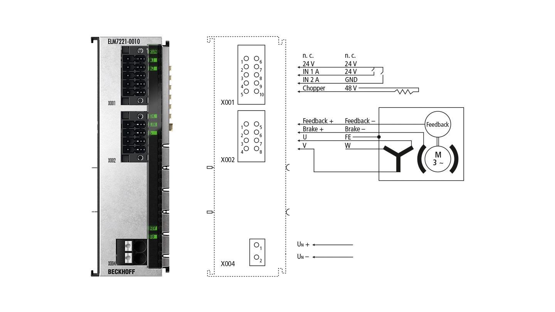 ELM7221-0010 | 1-Kanal-Servomotorklemme im Metallgehäuse, 48VDC, 8A(Ieff), OCT