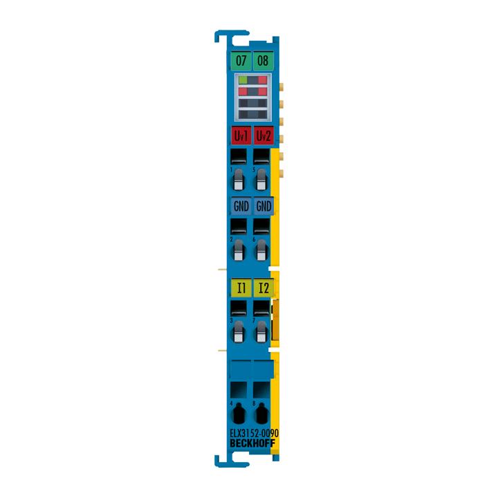 ELX3152-0090 | EtherCAT Terminal, 2-channel analog input, current, 0/4…20mA, 16bit, single-ended, Exi, TwinSAFESC