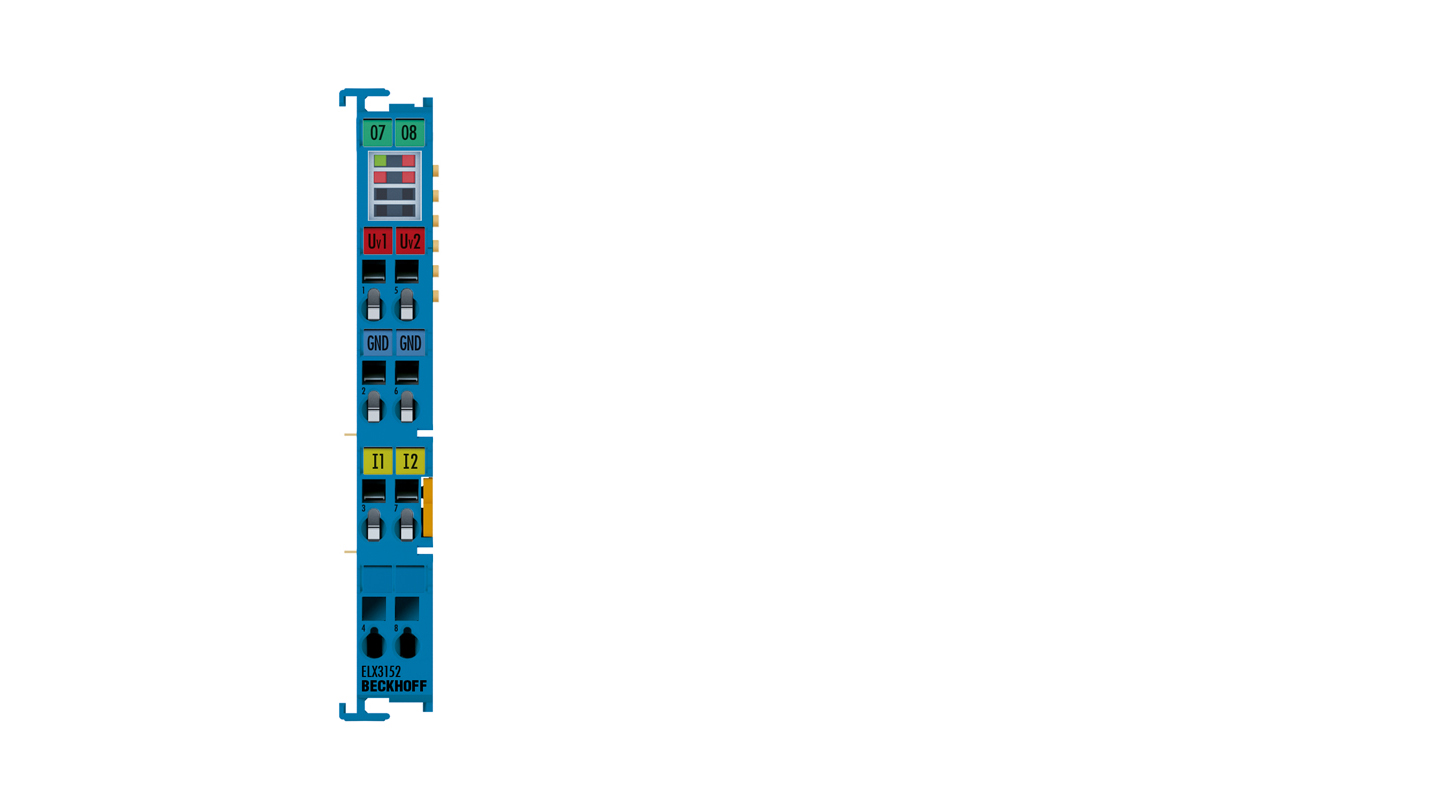 ELX3152 | EtherCAT Terminal, 2-channel analog input, current, 0/4…20mA, 16bit, single-ended, Exi