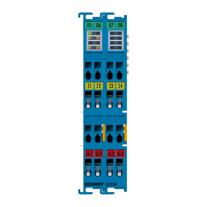 ELX3184 | EtherCAT Terminal, 4-channel analog input, current, 4…20mA, 16bit, single-ended, HART, Exi