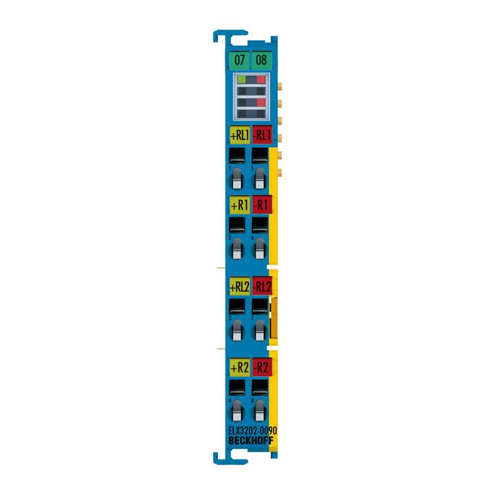 ELX3202-0090 | 2-Kanal-Analog-Eingangsklemme RTD, 2-, 3-, 4-Leitertechnik, 16Bit, Exi, TwinSAFESC
