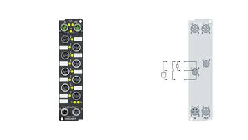 EP2308-0001 | 4 x digital input + 4 x digital output 24 V DC, Imax = 0.5 A, 3.0ms