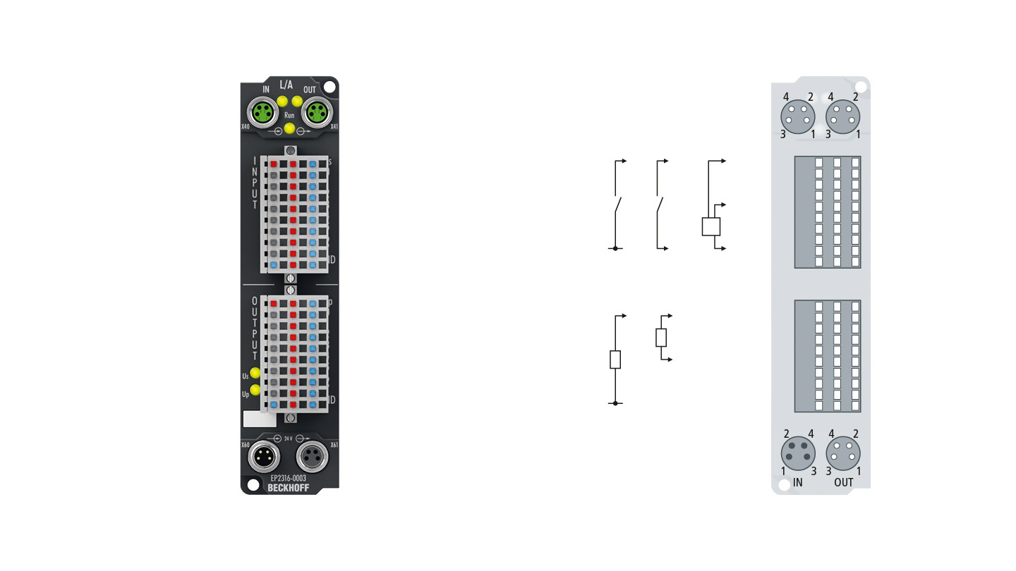 EP2316-0003 | EtherCAT Box, 8-channel digital input + 8-channel digital output, 24VDC, 10µs, 0.5A, IP20 connector