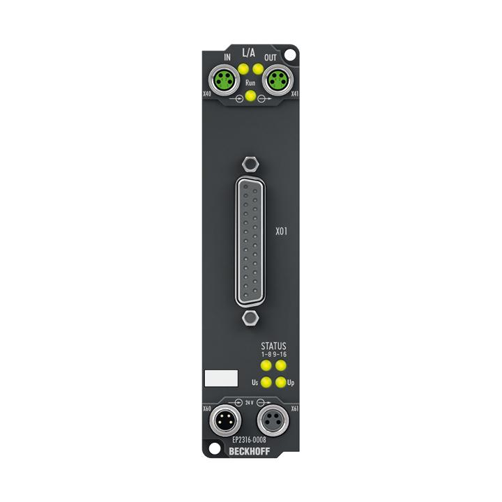 EP2316-0008 | 8 x Digital-Eingang + 8 x Digital-Ausgang 24VDC, Imax = 0,5 A