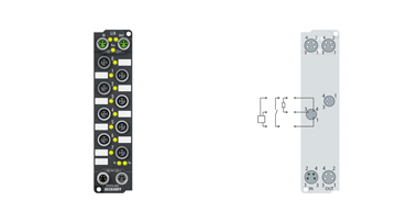 EP2318-0001 | EtherCAT Box, 4-channel digital input + 4-channel digital output, 24VDC, 10µs, 0.5A, M8