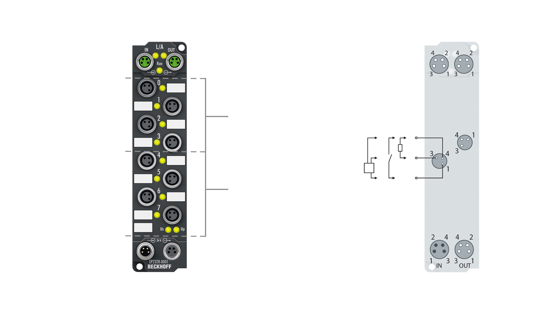 EP2328-0001 | EtherCAT Box, 4-channel digital input + 4-channel digital output, 24VDC, 3ms, 2A, M8