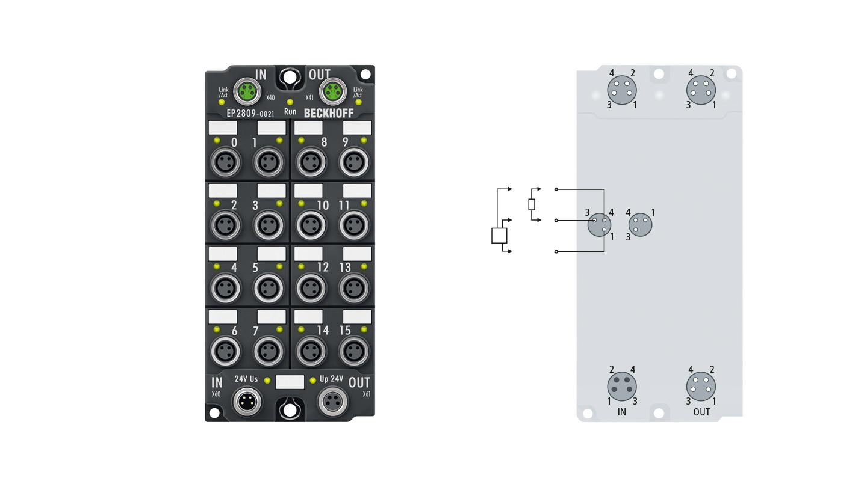 EP2809-0021 | 16-Kanal-Digital-Ausgang 24 V DC, Imax = 0,5 A (∑ 4 A)