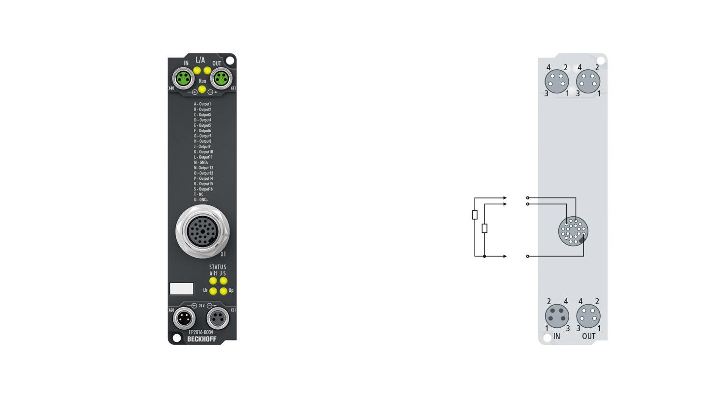 EP2816-0004 | 16-Kanal-Digital-Ausgang 24 V DC, Imax = 0,5 A (∑ 4 A)