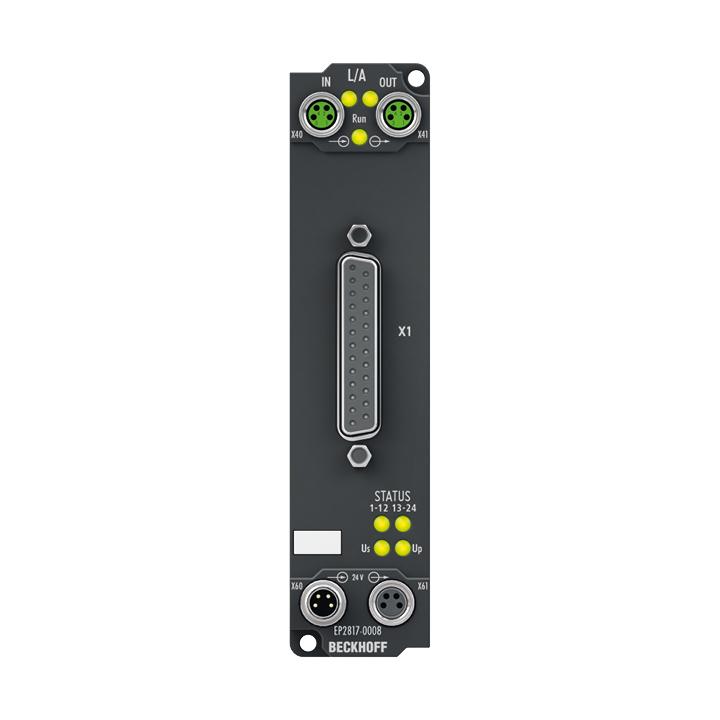 EP2817-0008 | 24-Kanal-Digital-Ausgang 24 V DC, Imax = 0,5 A (∑ 4 A)