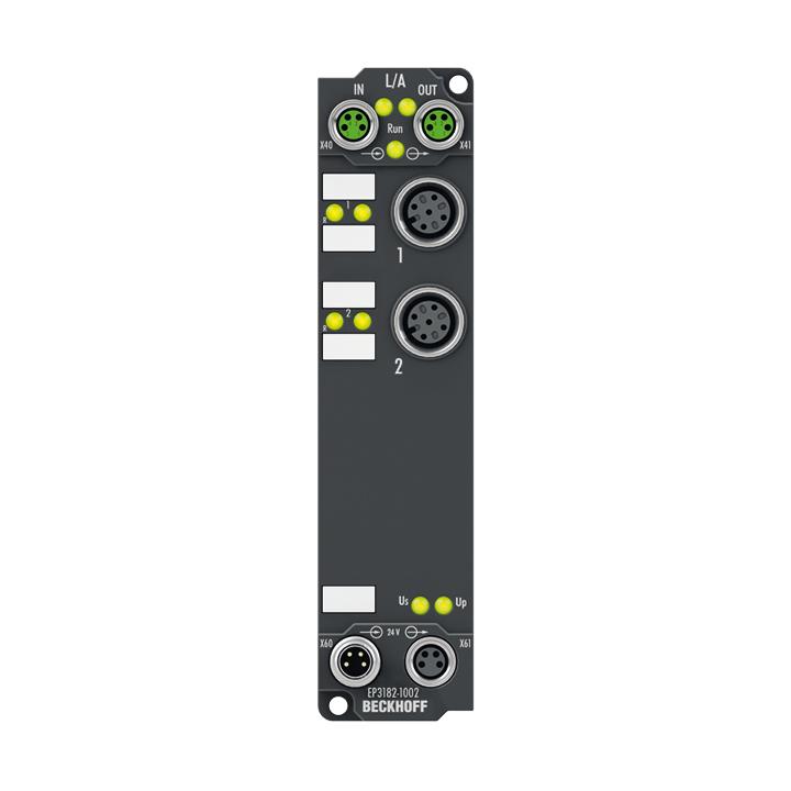 EP3182-1002 | 2-Kanal-Analog-Eingang ±10V oder 0/4…20mA, parametrierbar, single-ended, 16Bit, 2 digitale Steuerausgänge, 24VDC, kurzschlussfest