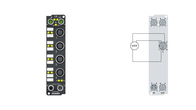 EP3184-0002 | EtherCAT Box, 4-channel analog input, multi-function, ±10V, 0/4…20mA, 16bit, single-ended, M12